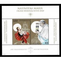 2020 Austria Congiunta (Joint Iusse) Vaticano foglietto Natale