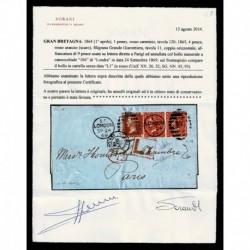 1869 Lettera Londra a Parigi penny red + 4 pence - certificata Sorani