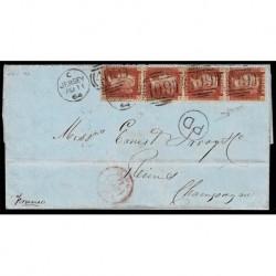 1864 Lettera Jersey a Reims penny red striscia - certificata Sorani