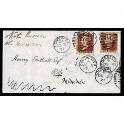 1871 Lettera Penny Red doppia rispedizione - certificata Sorani
