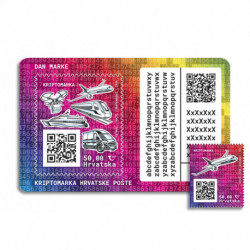 2020 Croazia Crypto Stamp mezzi di trasporto AEREO tiratura 4000