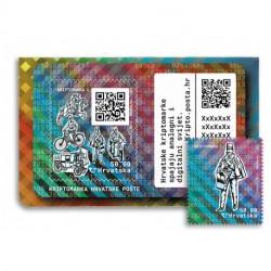 2020 Croazia Crypto Stamp 2 trasporto postale POSTINO tir. 9000