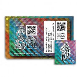 2020 Croazia Crypto Stamp 2 trasporto postale CICLOMOTORE tir. 8000