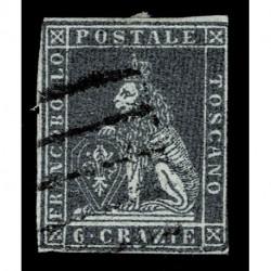 1851 ASI Granducato di Toscana 6 Crazie Sas.7 usato