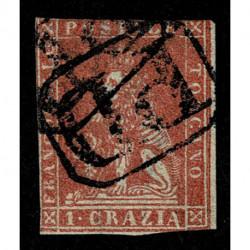 1857 ASI Granducato di Toscana 1 Crazia Sas.12 usato annullo P.D.