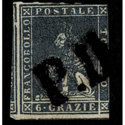 1857 ASI Granducato di Toscana 6 Crazie Sas.15b usato annullo P.D.