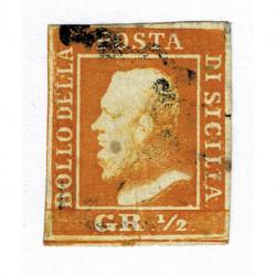 1859 ASI Sicilia 1/2 grana arancio II tavola usato - assottigliamento