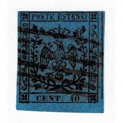 1852 ASI Ducato di Modena 40cent no punto azzurro Sas.6 usato