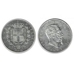 1977 Regno d'Italia 5 Lire Vittorio Emanuele II - Moneta Argento 900
