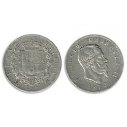 1975 Regno d'Italia 5 Lire Vittorio Emanuele II - Moneta Argento 900