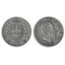 1974 Regno d'Italia 5 Lire Vittorio Emanuele II - Moneta Argento 900