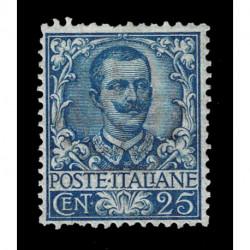 1901 Regno - 25 cent Floreale azzurro Sas.73 nuovo MH/*