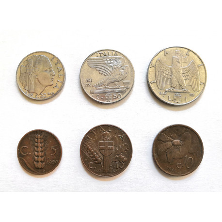 lotto 6 Monete Regno d'Italia Vittorio Emanuele III