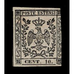 1854 ASI Ducato di Modena 10cent punto dopo cifra Sas.9 nuovo MH/*
