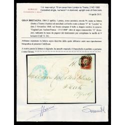 1868 Lettera Penny Red da Londra a Trento (Austria) Tassata + cert. Sorani