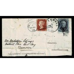 1878 Lettera rispedizione doppia affrancatura Lowell-Paisley-Dunoon cert. Sorani