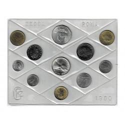 1980 Divisionale Monete Repubblica con 500Lire Caravelle FDC Argento