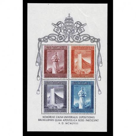 1958 Vaticano Foglietto Esposizione Universale di Bruxelles nuovo MNH/**