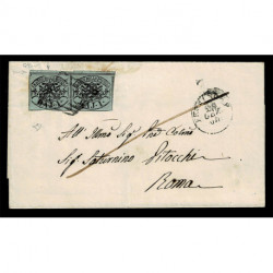 1864 Pontificio coppia 1Baj Sas.2A verde scuro da Frosinone