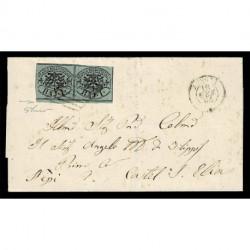 1864 Pontificio coppia 1Baj Sas.2A verde scuro da Arsoli a Castel S.Elia