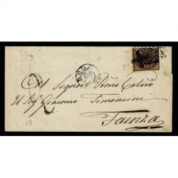 1862 Pontificio 3Baj Sas.4Ab bruno per Faenza annullo Croce