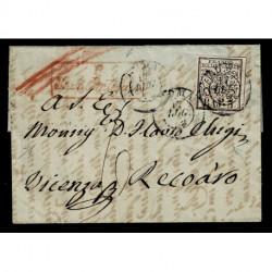 1852 Pontificio 5Baj Sas.6Ab rosa da Roma per Recoaro Monsignor Chigi