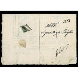 1856 Pontificio 2Baj USO FRAZIONATO su lettera da Castelplanio a Jesi