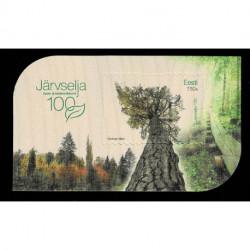 2021 Estonia foglietto in legno riserva naturale Järvselja unusual stamps