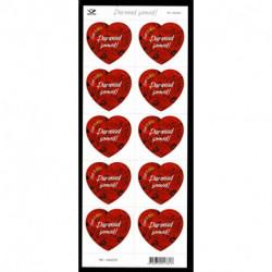 2021 Estonia San Valentino francobollo a forma di cuore Minifoglio