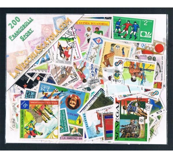 200 Francobolli differenti tematica Sport
