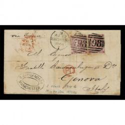 1864 Lettera Manchester a Genova 6 pence tav.4 + tav.3 via Francia