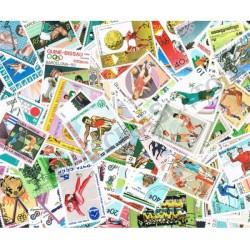 100 Francobolli differenti tematica Sport