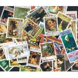50 Francobolli differenti tematica Pittura