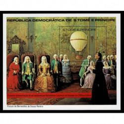 1980 S.Tomé e Príncipe Mongolfiere dipinto di Bernardino de Sousa foglietto