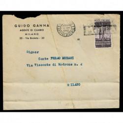 1950 Radiodiffusione 20Lire Sas.623 isolato su lettera