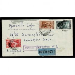 1953 Italia Lavoro lettera espressa per Londra 145 Lire