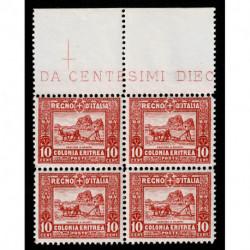 1928 Colonie Eritrea soggetti africani 10 cent quartina Sas.130 MNH/**