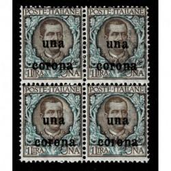 1919 Dalmazia Sas.1 floreale soprastampato Quartina MNH/**