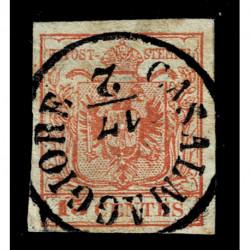 1852 ASI Lombardo Veneto 15cent III tipo annullo Casalmaggiore C1