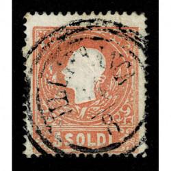 1859 ASI Lombardo Veneto 5 soldi II tipo Sas.30 annullo C3 Villafranca (3pt)