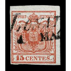 1850 ASI Lombardo Veneto 15cent I tipo annullo Lonato SI Ig