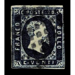 1851 ASI Sardegna 20cent azzurro Sas.2 usato