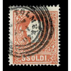 1859 ASI Lombardo Veneto 5 Soldi II° tipo Sas.30 - Annullo Tolmezzo