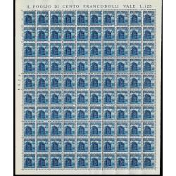 1944 RSI Monumenti Distrutti 1,25 lire Sas.510 Foglio intero MNH/**