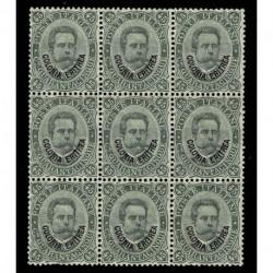 1893 Colonie Eritrea 45cent Sas.8 Umberto I soprastampato blocco 9 MNH/**