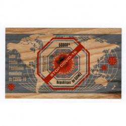 2020 Guinea Stop Covid-19 foglietto in legno unusual stamps