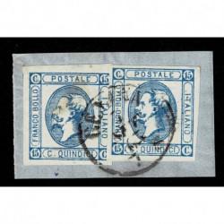1863 Regno 15cent Litografico frammento coppia I e II tipo Genova