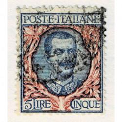 1901 Regno 5Lire floreale usato Sas.78