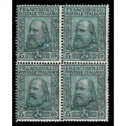 1910 Regno Giuseppe Garibaldi Sas.87 Quartina nuova MNH/**