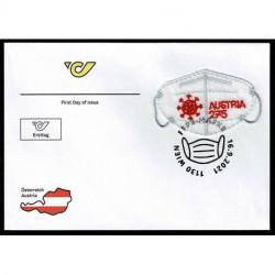 2021 Austria francobollo ricamato mascherina FFP2 - unusual stamps FDC